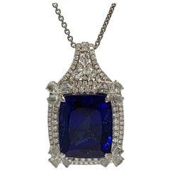 Cushion Shape 51.72 Carat Tanzanite and Diamonds Pendant