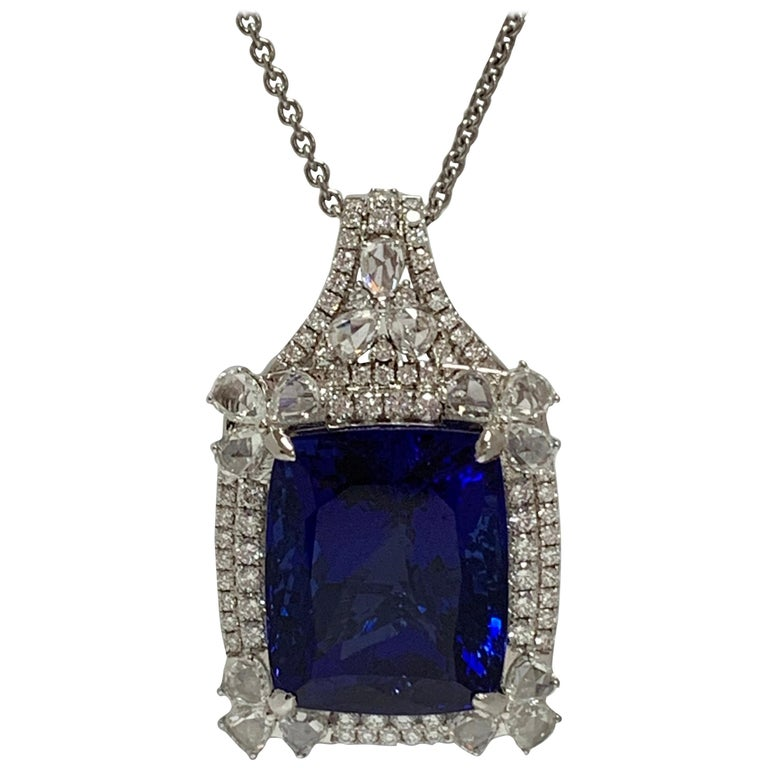 Cushion Shape 51.72 Carat Tanzanite and Diamonds Pendant For Sale