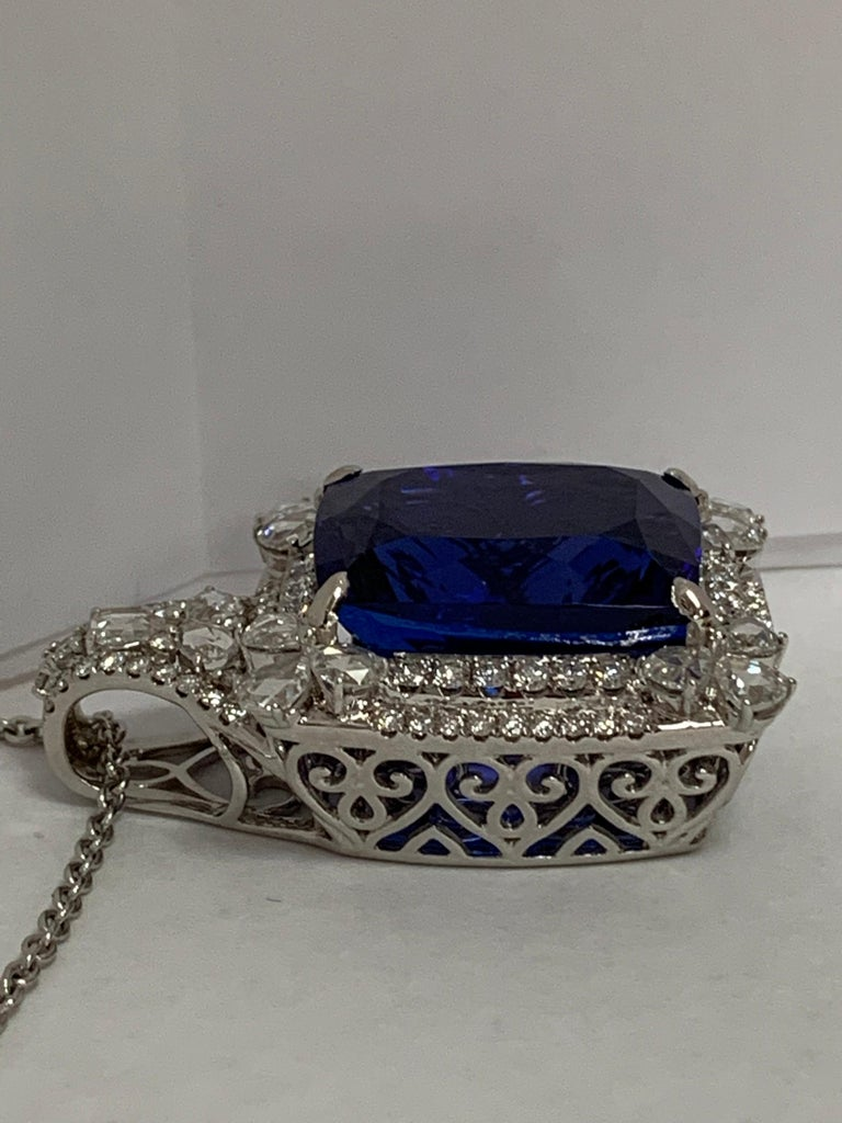 Cushion Shape 51.72 Carat Tanzanite and Diamonds Pendant For Sale 4