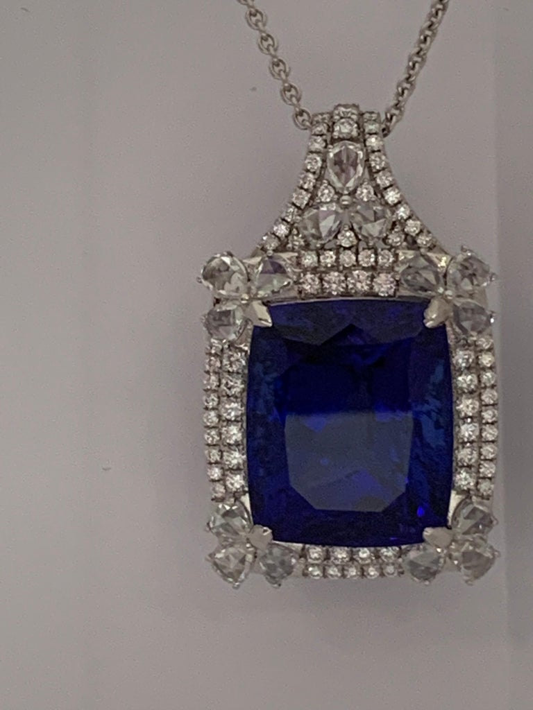 Cushion Shape 51.72 Carat Tanzanite and Diamonds Pendant For Sale 5