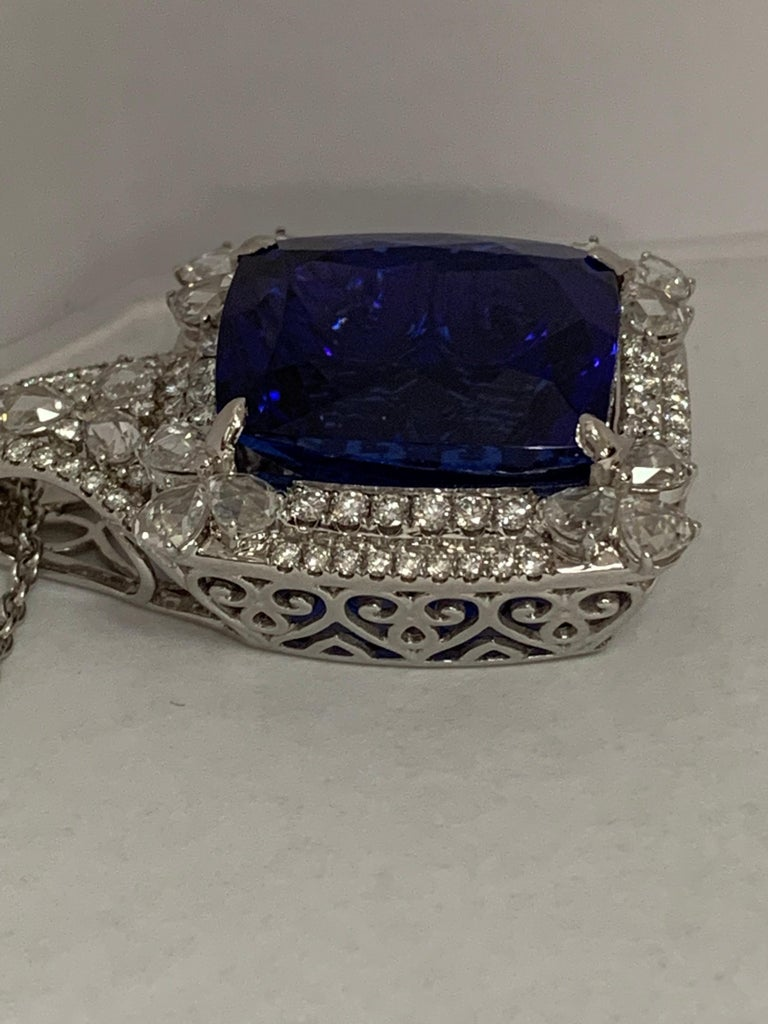 Cushion Shape 51.72 Carat Tanzanite and Diamonds Pendant For Sale 6