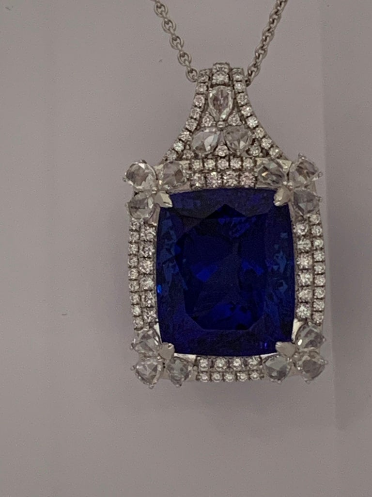 Cushion Cut Cushion Shape 51.72 Carat Tanzanite and Diamonds Pendant For Sale