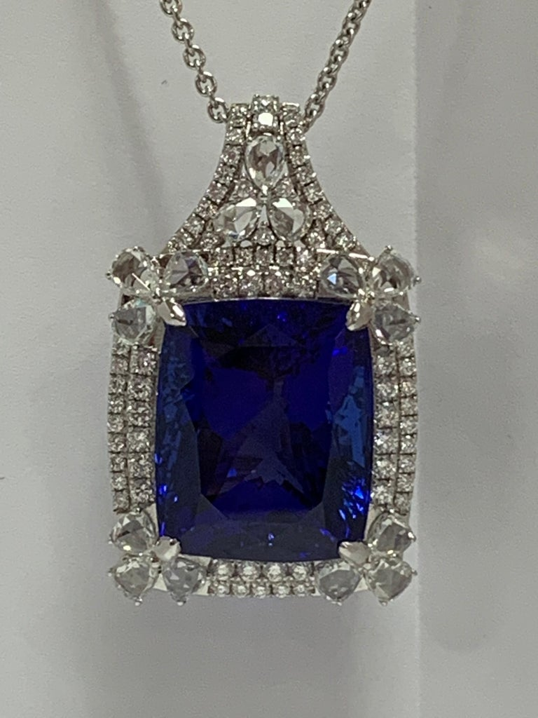 Cushion Shape 51.72 Carat Tanzanite and Diamonds Pendant In Excellent Condition For Sale In Trumbull, CT