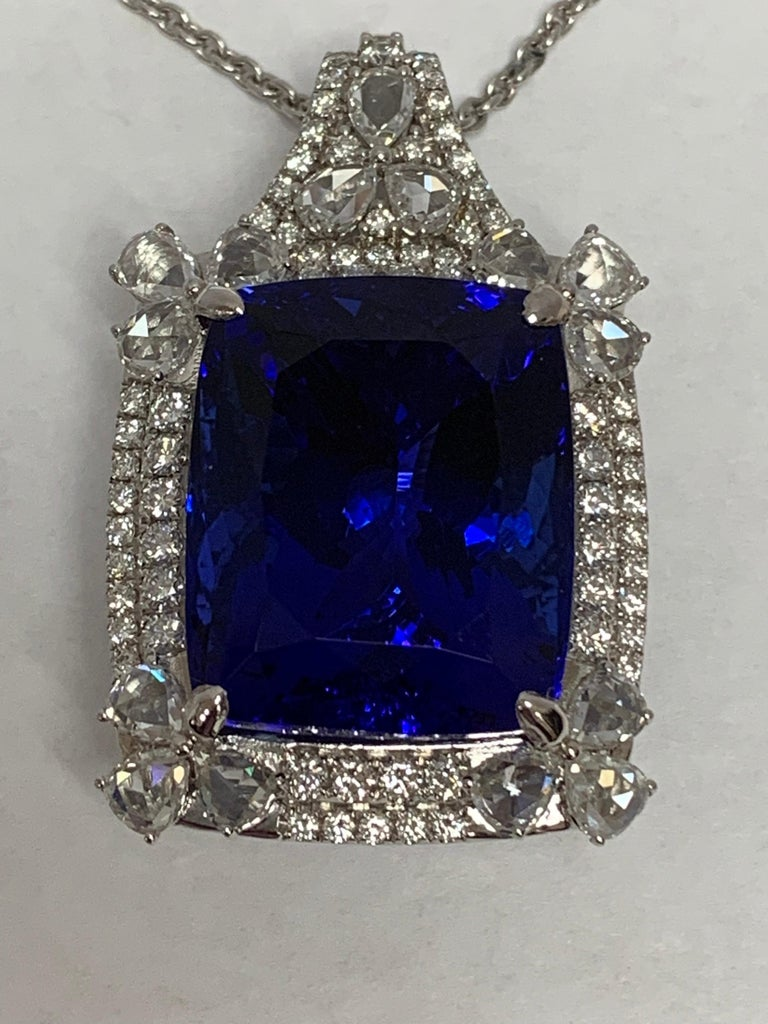 Cushion Shape 51.72 Carat Tanzanite and Diamonds Pendant For Sale 1