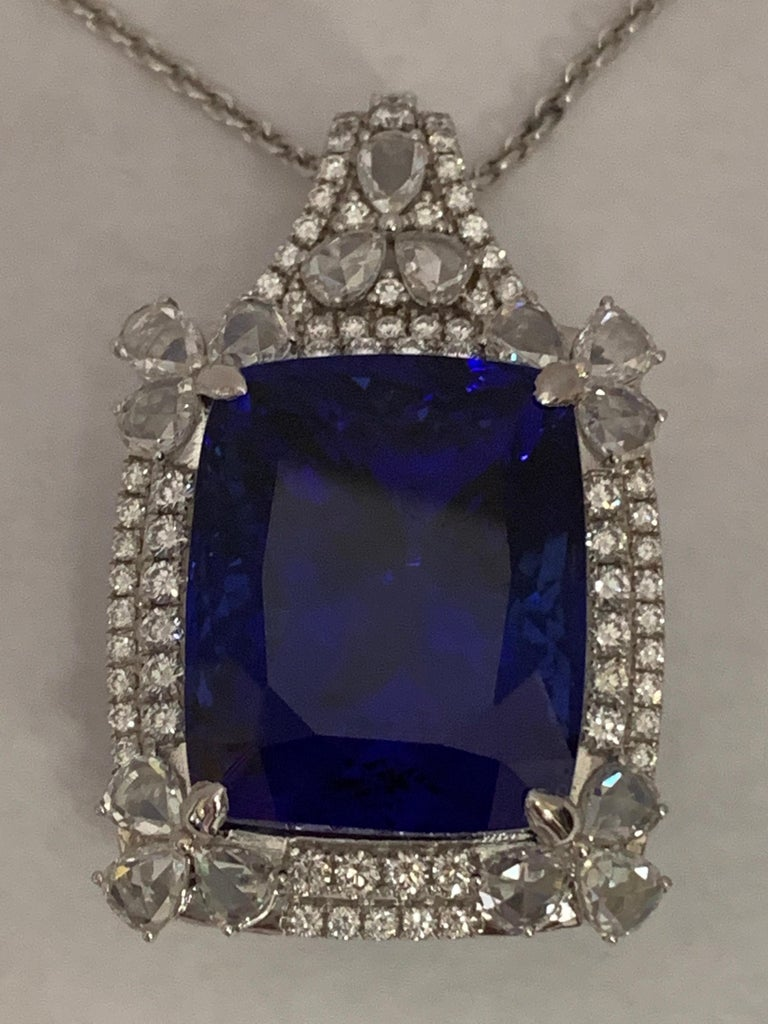 Cushion Shape 51.72 Carat Tanzanite and Diamonds Pendant For Sale 2