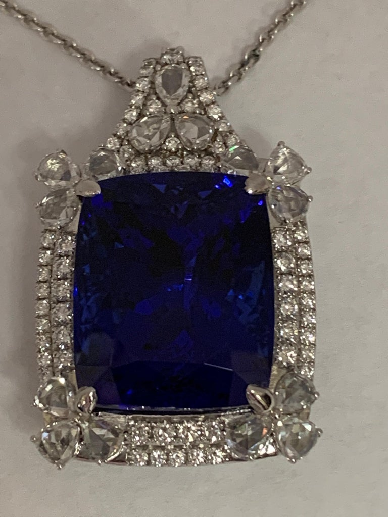 Cushion Shape 51.72 Carat Tanzanite and Diamonds Pendant For Sale 3