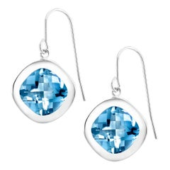 Cushion Shape Blue Topaz Bezel Set Drop Hoop Silver Earrings