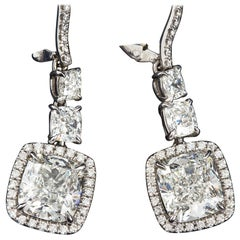 Cushion Shape Diamond Dangle Earrings 10.00 Carat GIA