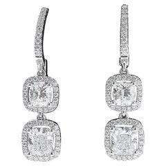 GIA Certified 3.02 Carat Cushion Shape Diamond Drop Earrings 18 Karat White Gold