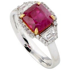 Cushion Shape Ruby Ring with Diamond Baguettes Set in 18 Karat White Gold