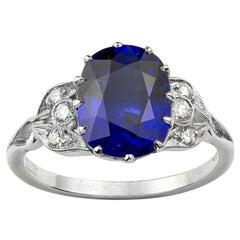 Cushion-Shape Sapphire and Diamond Ring