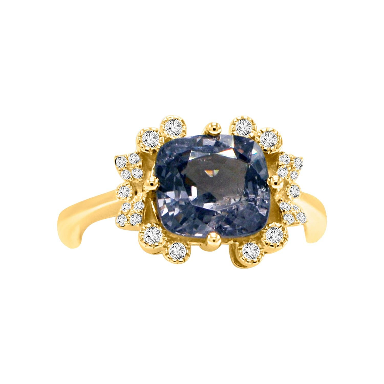 Cushion Shape Spinal and Diamond Ring 14 Karat Rose Gold
