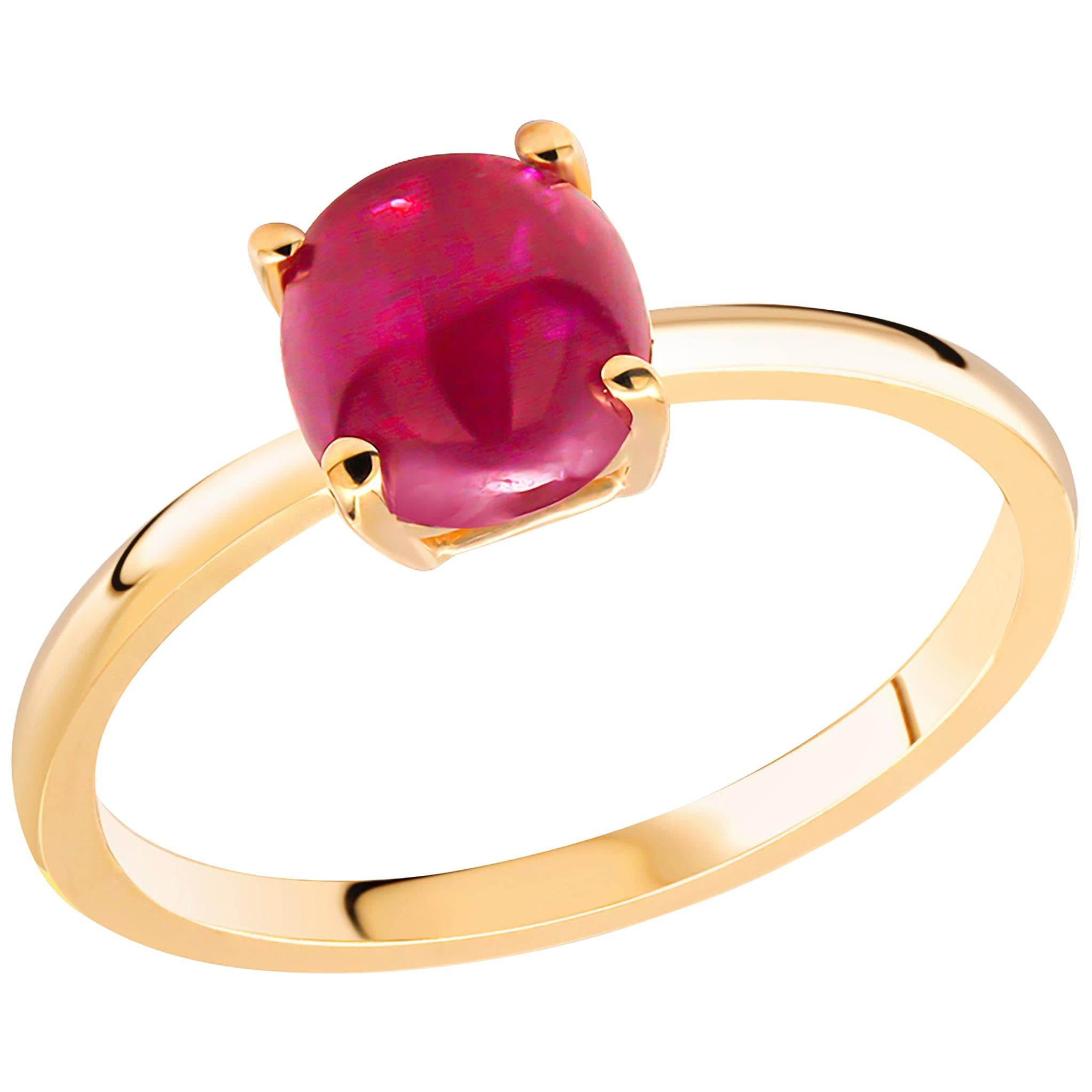 Cushion Shape Sugar Loaf Burma Cabochon Ruby Yellow and White Gold Cocktail Ring