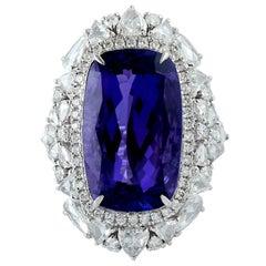 Cushion Shape Tanzanite Ring with White Diamonds in 18 Karat White Gold