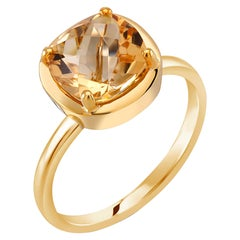 Cushion Shape Yellow Citrine Solitaire Sterling Silver Ring Yellow Gold-Plated