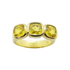 Cushion Shape Yellow Sapphire Ring Set in 18 Karat Gold Settings