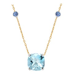 Cushion Shaped Aquamarine and Sapphire White and Yellow Gold Pendant Necklace
