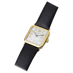 Cushion Shaped, Art Deco, 18 Karat Gold Patek Philippe Wristwatch