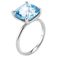 Cushion Shaped Four Carat Blue Topaz Solitaire Sterling Silver Ring