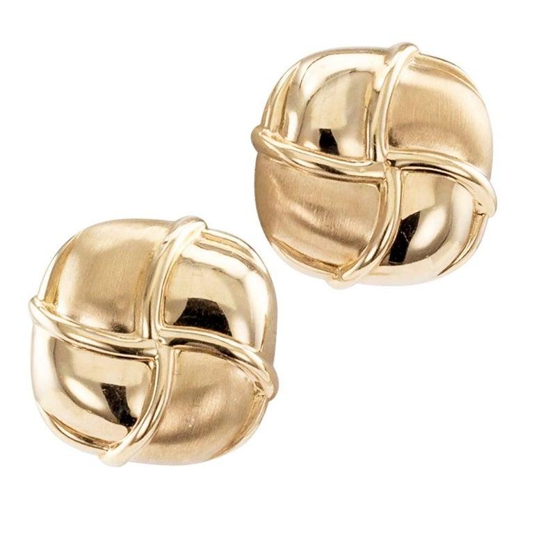 Cushion Shaped Gold Earrings