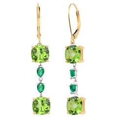 Cushion Shaped Peridot and Pear Emeralds Gold Hoop Earrings Weighing 8.50 Carat