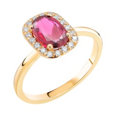 Cushion Shaped Ruby and Diamonds Set in 18 Karat Yellow Gold Cocktail Ring