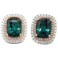 Cushion Shaped Tourmaline Earrings 5.33 Carat with Pink and White Diamonds