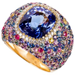 Cushion Tanzanite Yellow Gold Ring with Diamonds, Emeralds, Rubis and Sapphires