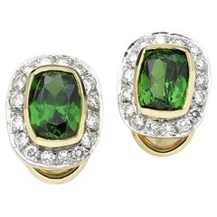 Cushion Tsavorite and Diamond Stud Earrings, Gold, Ben Dannie