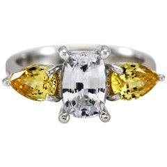 Cushion White and Pear Shape Yellow Sapphires Engagement Ring 18 Carat Gold
