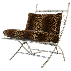 Cushioned Metal Bamboo Folding Easy Chair