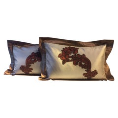 Cushions Cinnamon Silk with Modern Damask Design Hand Embroidery