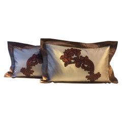 Cushions Cinnamon Silk with Modern Damask Design Hand Embroidery