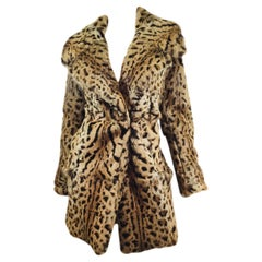 Cushnie et Ochs Rabbit Fur Coat with Leopard Print FW 2016