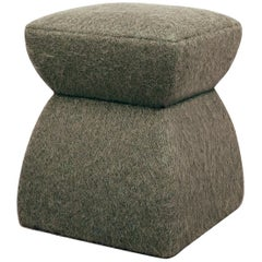 'Cusi' Pouf in Herisson Mouse Mohair