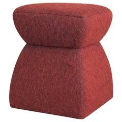 'Cusi' Pouf in Terracotta Mohair