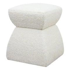 'Cusi' Pouf in White Mohair