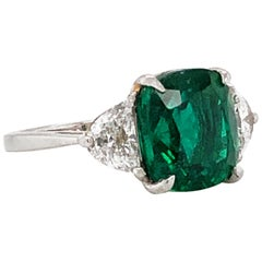 Cushion Zambian Emerald 5.45 Carat Half Moon Diamond Platinum Ring
