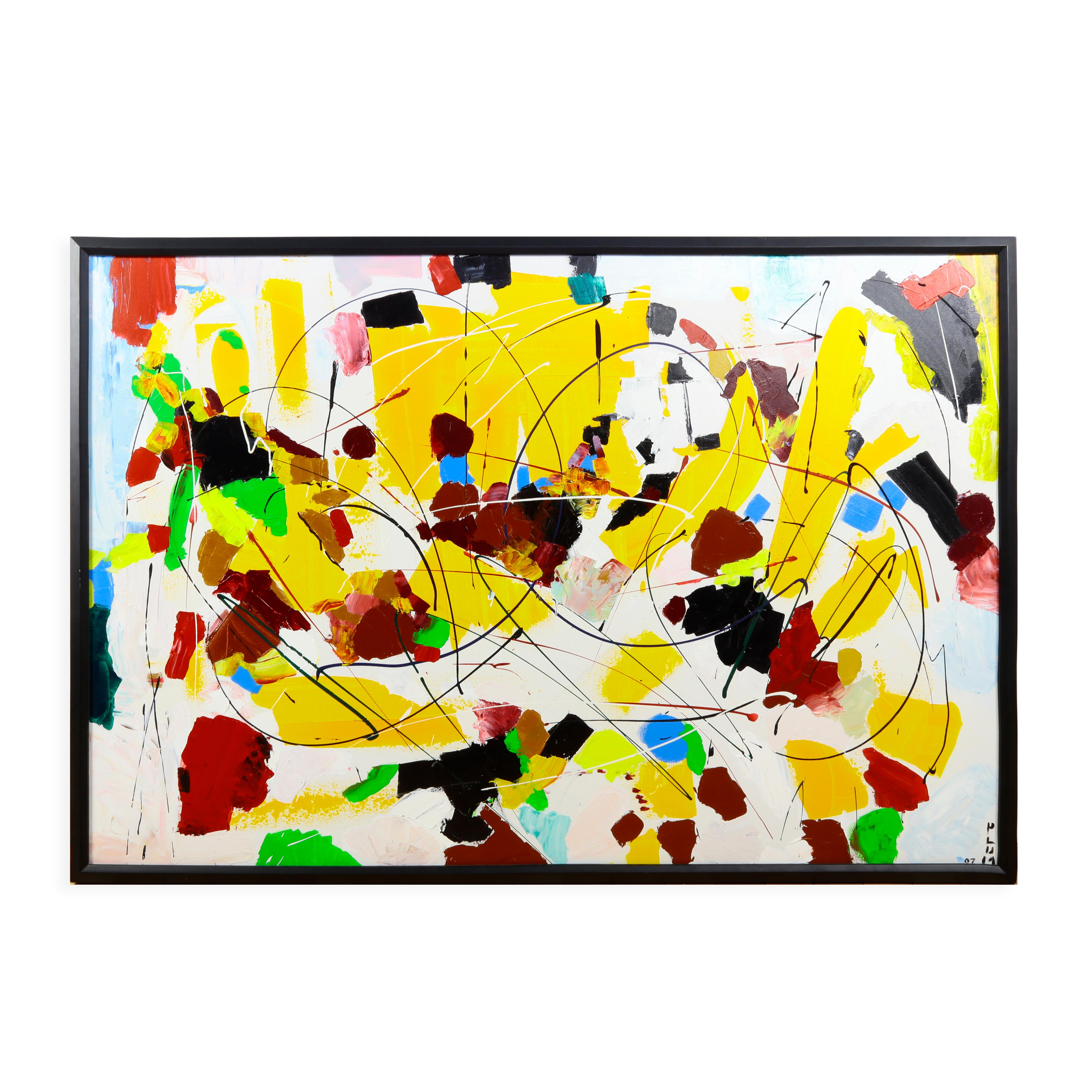 """""""Custard"""" Acrylic on Canvas Abstract Painting by Andrew Plum Circa 2007"""
