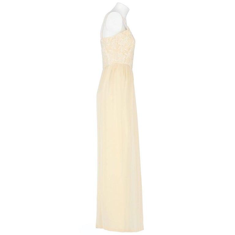 Custard Silk Vintage Wedding Dress, 1960s For Sale at 1stdibs