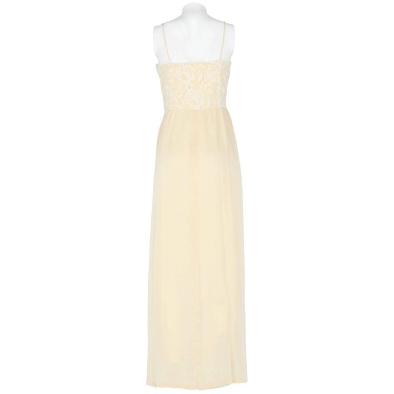 White Custard Silk Vintage Wedding Dress, 1960s For Sale