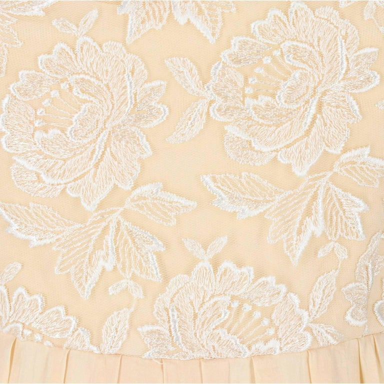 Women's Custard Silk Vintage Wedding Dress, 1960s For Sale