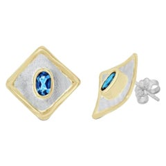 Custom 1.14 Carat Topaz Earrings in Fine Silver and 24 Karat Gold