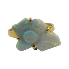 Custom 14 Karat Yellow Gold Opal Flower Carving Ring