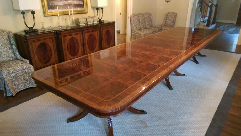 Custom Large 16 ft. Mahogany Banquet Dining Table by Leighton Hall For Sale 6
