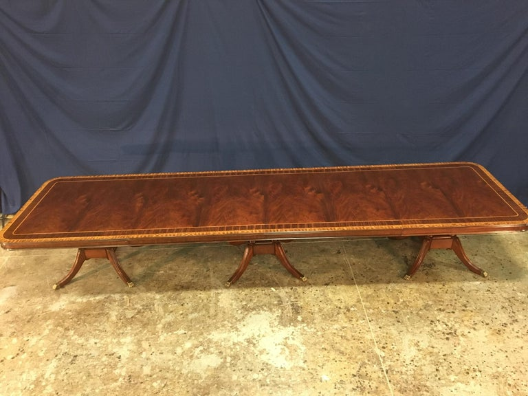 Georgian Custom Large 16 ft. Mahogany Banquet Dining Table by Leighton Hall For Sale