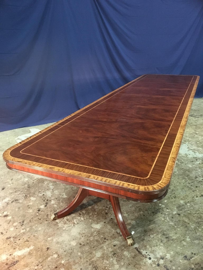 American Custom Large 16 ft. Mahogany Banquet Dining Table by Leighton Hall For Sale