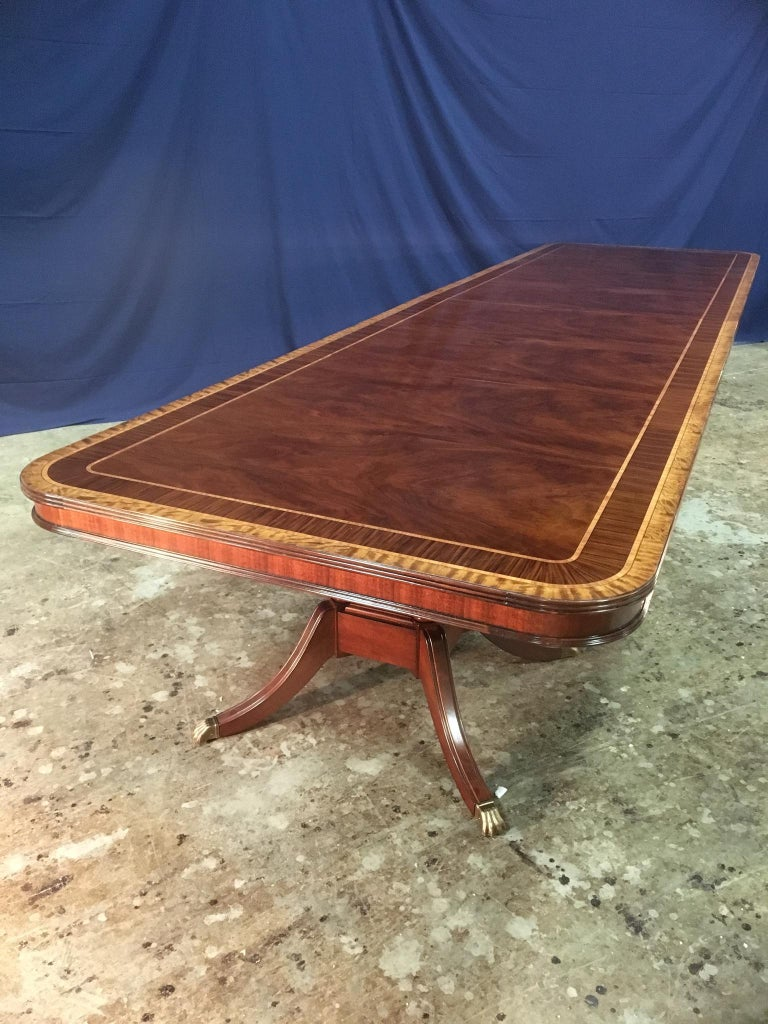 Contemporary Custom Large 16 ft. Mahogany Banquet Dining Table by Leighton Hall For Sale