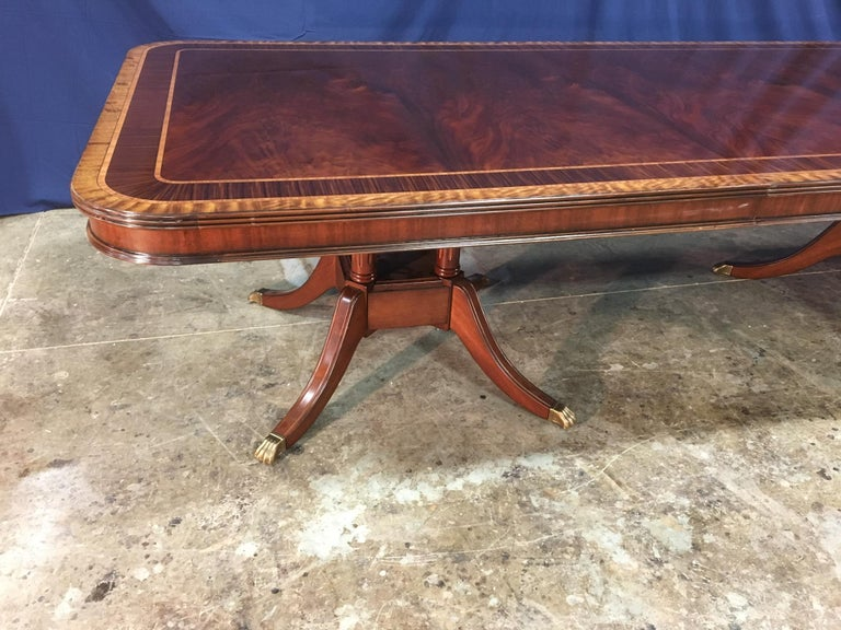 Custom Large 16 ft. Mahogany Banquet Dining Table by Leighton Hall For Sale 1