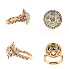 Custom 19 Carat Rutile and Diamond Cocktail and Fashion Ring